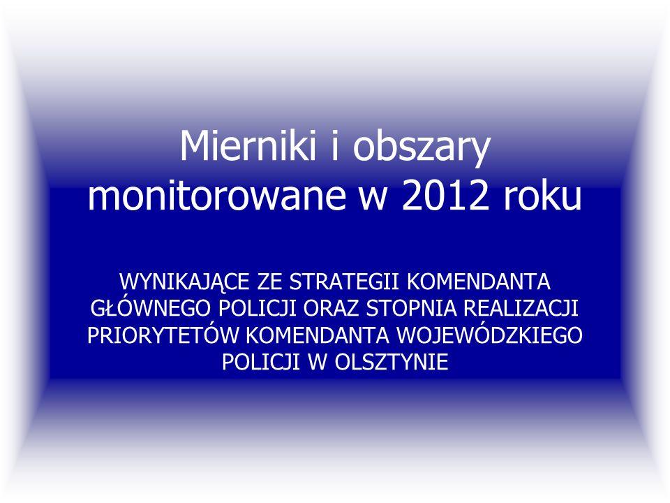 Mierniki i obszary monitorowane w 2012 roku WYNIKAJĄCE ZE STRATEGII KOMENDANTA GŁÓWNEGO POLICJI ORAZ STOPNIA REALIZACJI PRIORYTETÓW KOMENDANTA WOJEWÓD