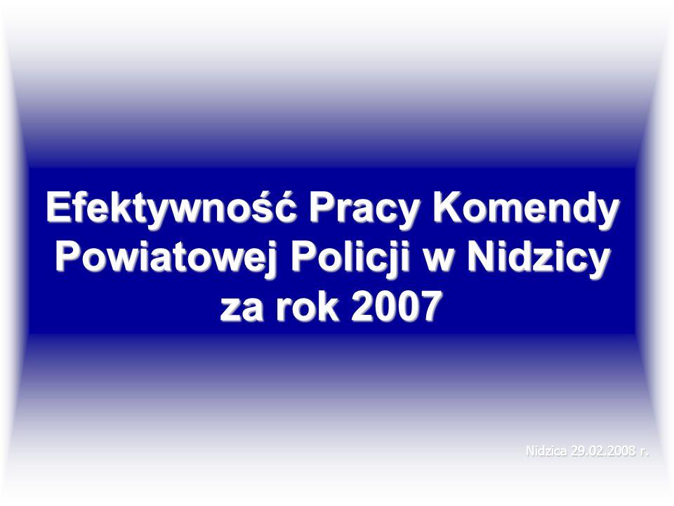 Efektywność Pracy Komendy Powiatowej Policji w Nidzicy za rok 2007 Nidzica 29.02.2008 r.
