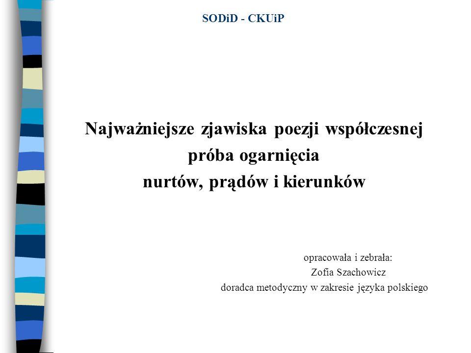 Wielkie indywidualności poezji polskiej Wisława Szymborska – noblistka roku 1996; tematyka poezji: - zagadnienia wielkiej filozofii – wypowiedziane w prostej poezji; - tematy historyczne; - natura – człowiek – czas; - ewolucja i miejsce człowieka w łańcuchu istnień; - poezja – jej poetyckie definicje; - liryka o charakterze intelektualnym i moralistycznym; - skupiona gł ó wnie na analizie sytuacji egzystencjalnej człowieka, kruchości i przypadkowości życia ludzkiego; - przeciwstawia trwałą wartość osiągnięć człowieka jako tw ó rcy kultury; - obrona indywidualnej wyobraźni i wrażliwości przed dominującym w XX w.odpersonalizowanym myśleniem i odczuwaniem; - forma wypowiedzi poetyckiej, odznaczającą się lapidarnością i wyrafinowaną prostotą, dyskrecją emocjonalną, a zwłaszcza mistrzowskim operowaniem konceptem poetyckim, często bliskim paradoksu i ironii.