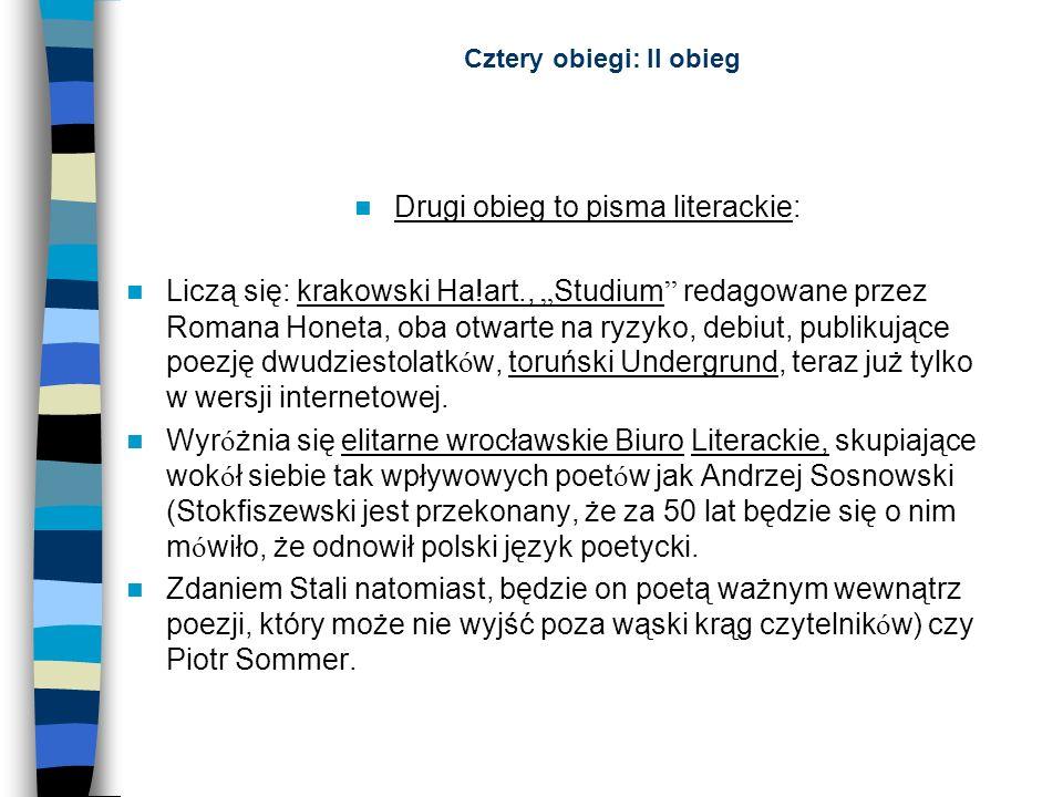 Cztery obiegi: II obieg Drugi obieg to pisma literackie: Liczą się: krakowski Ha!art., Studium redagowane przez Romana Honeta, oba otwarte na ryzyko,