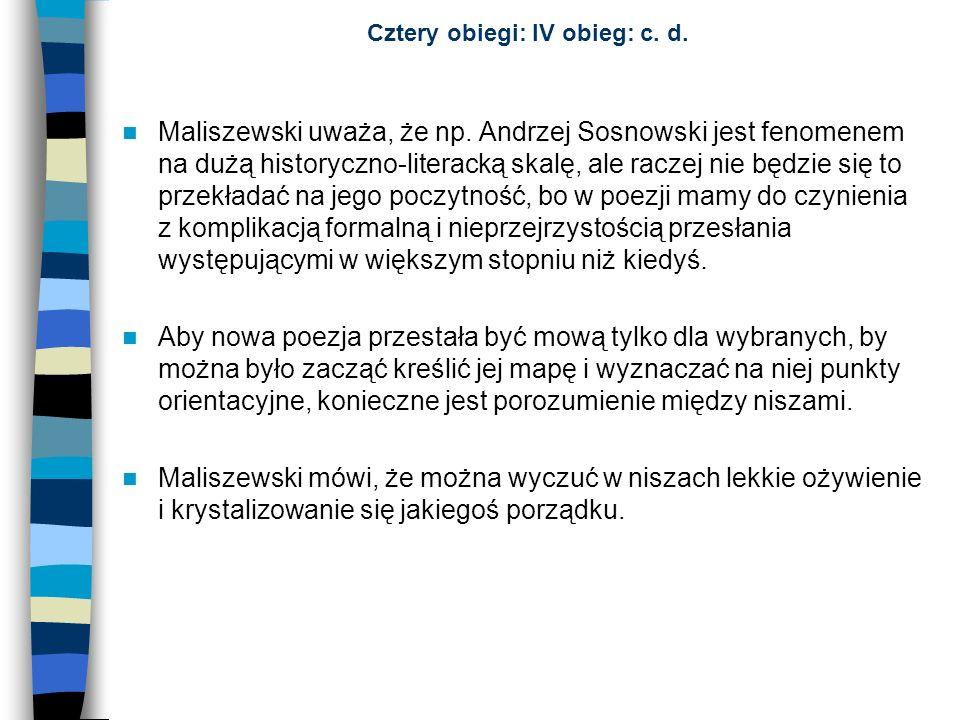 Cztery obiegi: IV obieg: c. d. Maliszewski uważa, że np. Andrzej Sosnowski jest fenomenem na dużą historyczno-literacką skalę, ale raczej nie będzie s