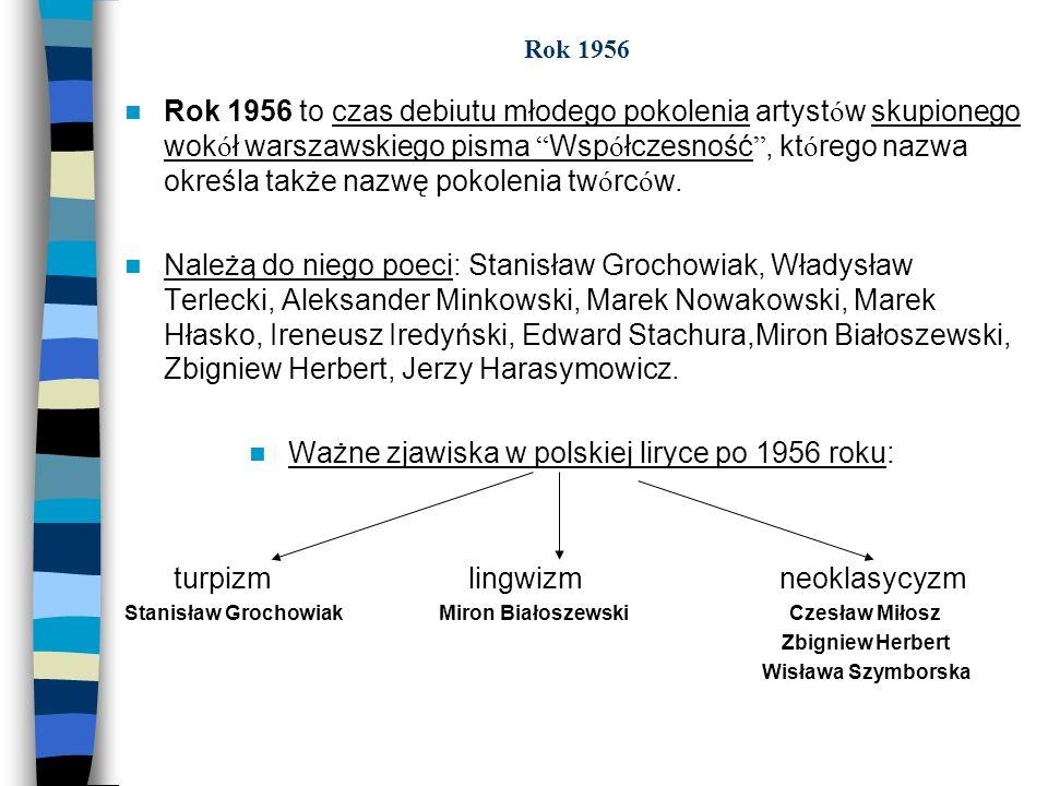 Rok 1956 Rok 1956 to czas debiutu młodego pokolenia artyst ó w skupionego wok ó ł warszawskiego pisma Wsp ó łczesność, kt ó rego nazwa określa także n