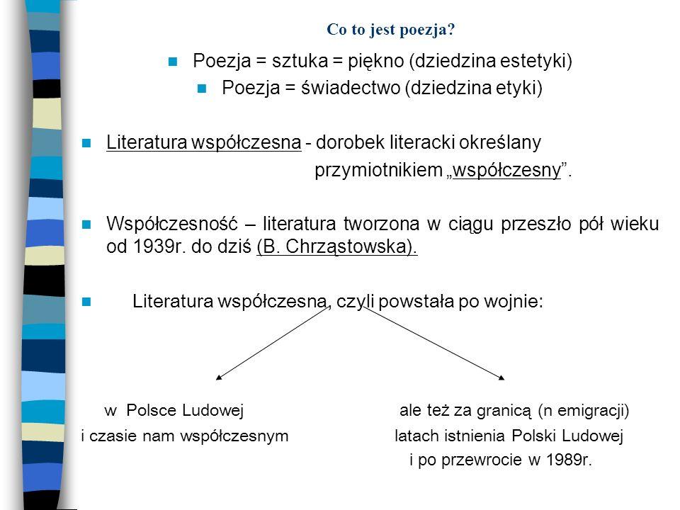 Co to jest poezja? Poezja = sztuka = piękno (dziedzina estetyki) Poezja = świadectwo (dziedzina etyki) Literatura współczesna - dorobek literacki okre