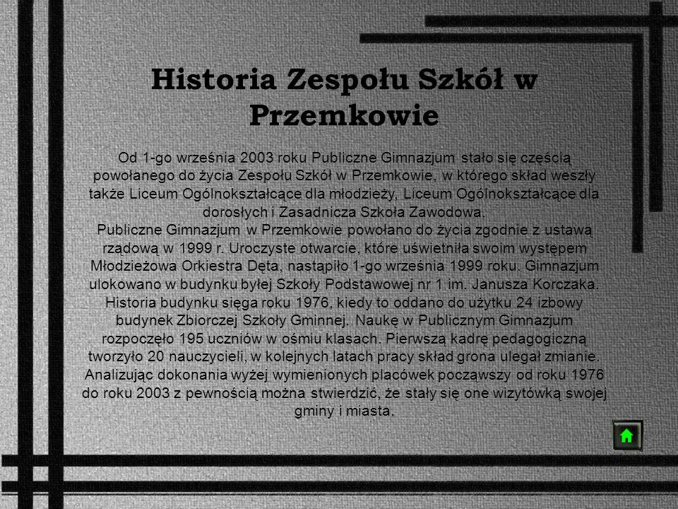 Historia Zespołu Szkół w Przemkowie Od 1-go września 2003 roku Publiczne Gimnazjum stało się częścią powołanego do życia Zespołu Szkół w Przemkowie, w