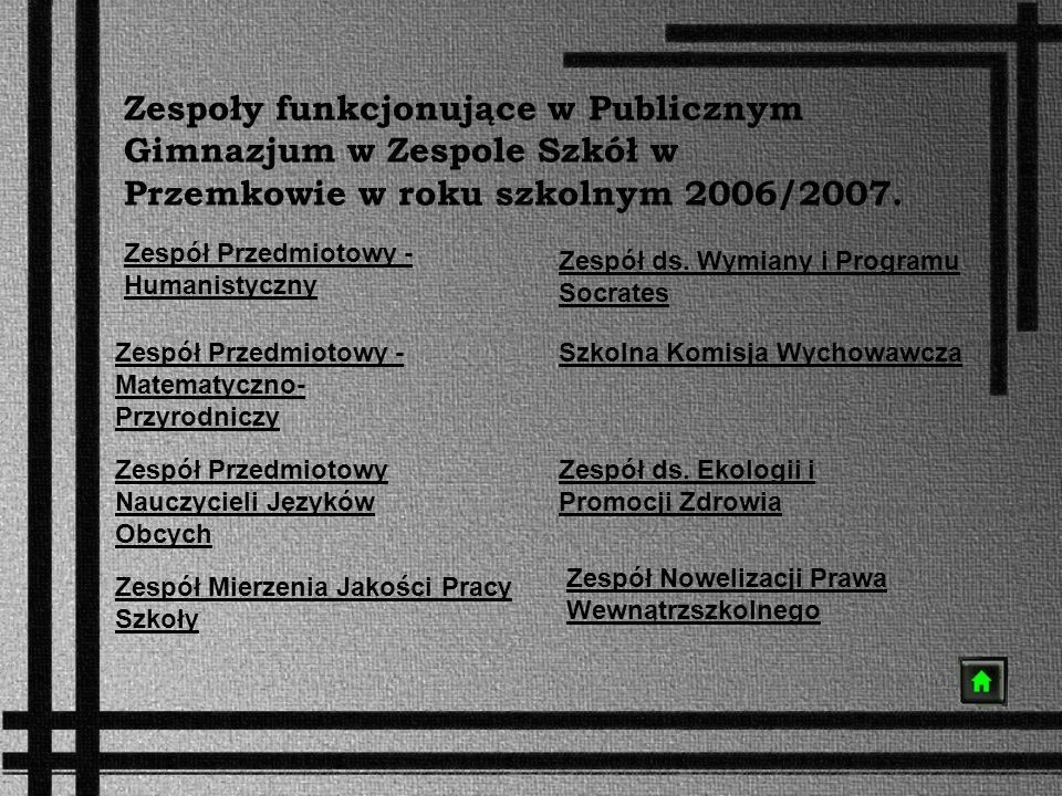 Zespoły funkcjonujące w Publicznym Gimnazjum w Zespole Szkół w Przemkowie w roku szkolnym 2006/2007. Zespół Przedmiotowy - Humanistyczny Zespół Przedm