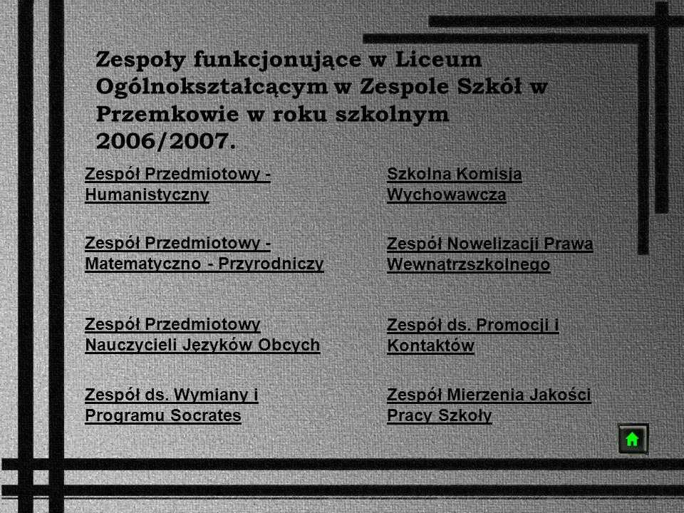 Zespoły funkcjonujące w Liceum Ogólnokształcącym w Zespole Szkół w Przemkowie w roku szkolnym 2006/2007. Zespół Przedmiotowy - Humanistyczny Zespół Pr