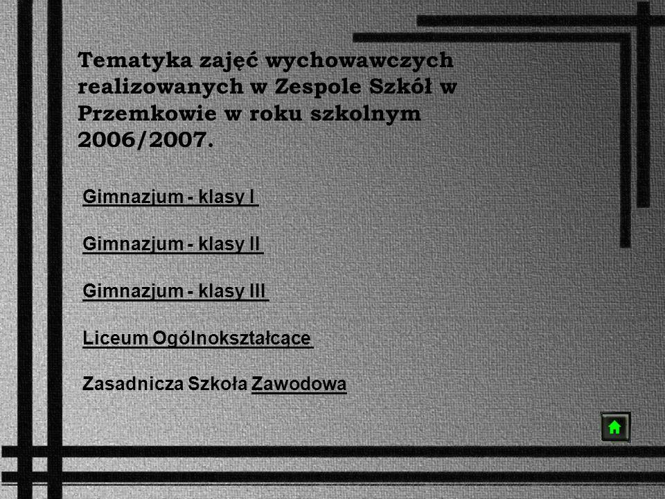 Tematyka zajęć wychowawczych realizowanych w Zespole Szkół w Przemkowie w roku szkolnym 2006/2007. Gimnazjum - klasy I Gimnazjum - klasy II Gimnazjum