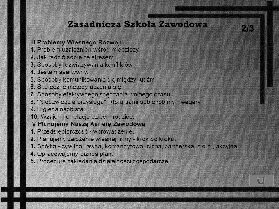 Zasadnicza Szkoła Zawodowa 2/3 III Problemy Własnego Rozwoju 1. Problem uzależnień wśród młodzieży. 2. Jak radzić sobie ze stresem. 3. Sposoby rozwiąz