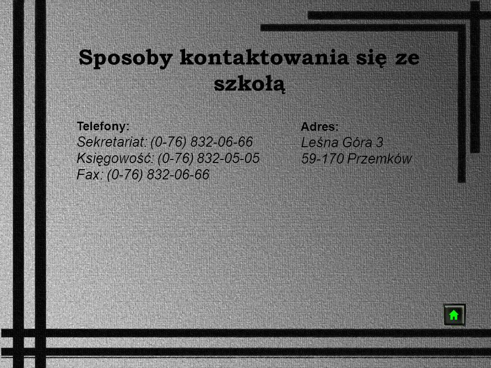Sposoby kontaktowania się ze szkołą Adres: Leśna Góra 3 59-170 Przemków Telefony: Sekretariat: (0-76) 832-06-66 Księgowość: (0-76) 832-05-05 Fax: (0-7