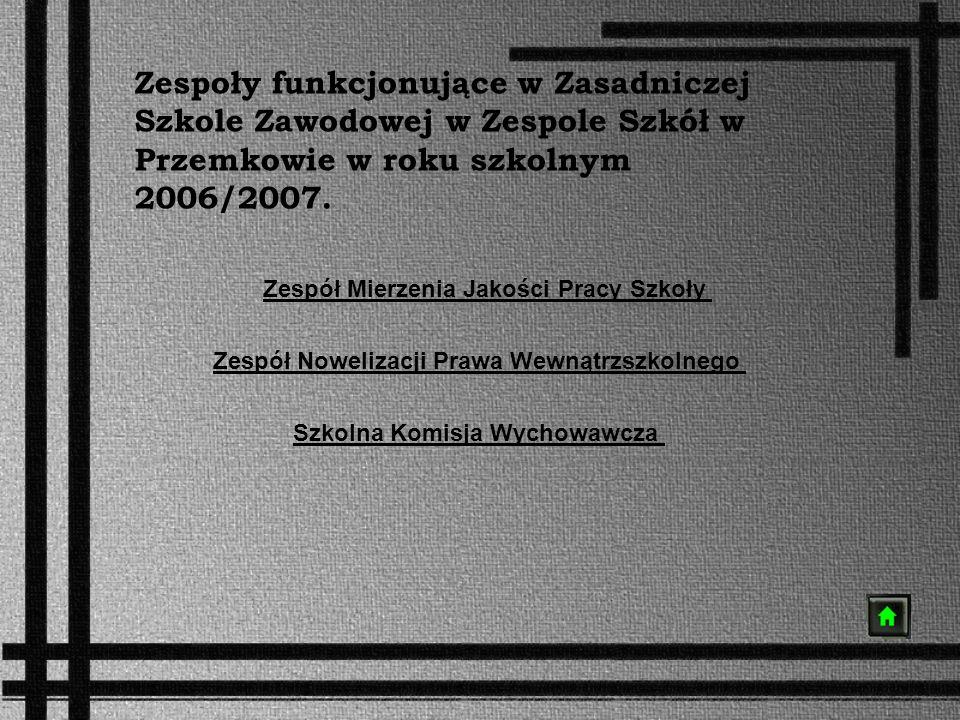 Zespoły funkcjonujące w Zasadniczej Szkole Zawodowej w Zespole Szkół w Przemkowie w roku szkolnym 2006/2007. Zespół Mierzenia Jakości Pracy Szkoły Zes