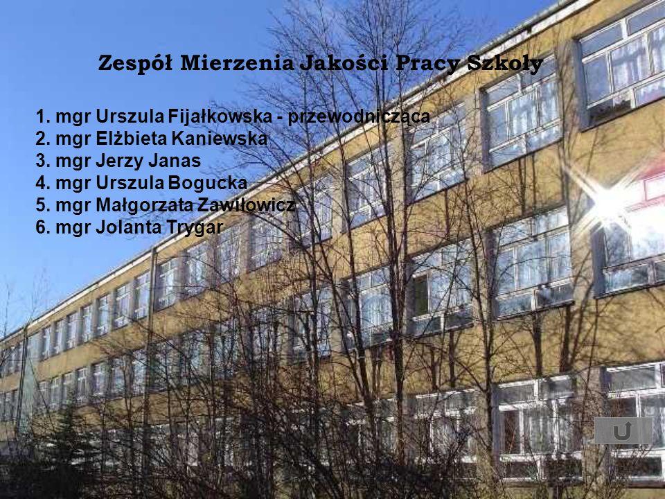 Zespół Mierzenia Jakości Pracy Szkoły 1. mgr Urszula Fijałkowska - przewodnicząca 2. mgr Elżbieta Kaniewska 3. mgr Jerzy Janas 4. mgr Urszula Bogucka