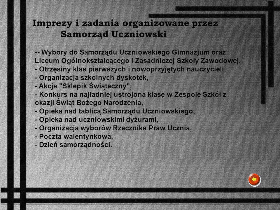 Imprezy i zadania organizowane przez Samorząd Uczniowski - - Wybory do Samorządu Uczniowskiego Gimnazjum oraz Liceum Ogólnokształcącego i Zasadniczej