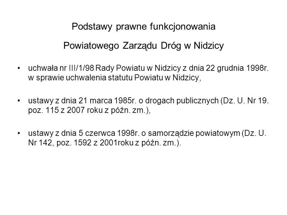 ULICE POWIATOWE – stan na 31.12.2012 W zarządzaniu Powiatowego Zarządu Dróg w Nidzicy znajduje się : 1.