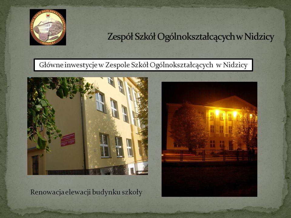 Główne inwestycje w Zespole Szkół Ogólnokształcących w Nidzicy Renowacja elewacji budynku szkoły