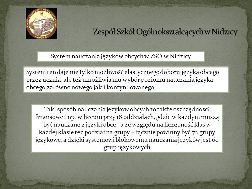 System nauczania języków obcych w ZSO w Nidzicy System ten daje nie tylko możliwość elastycznego doboru języka obcego przez ucznia, ale też umożliwia