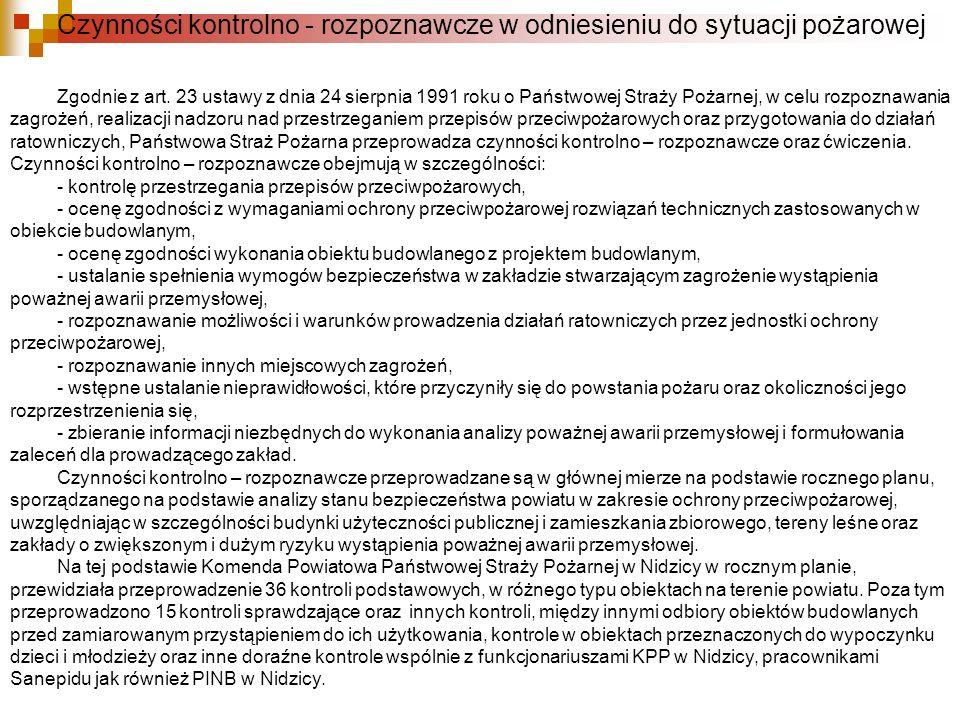 Czynności kontrolno - rozpoznawcze w odniesieniu do sytuacji pożarowej Zgodnie z art. 23 ustawy z dnia 24 sierpnia 1991 roku o Państwowej Straży Pożar