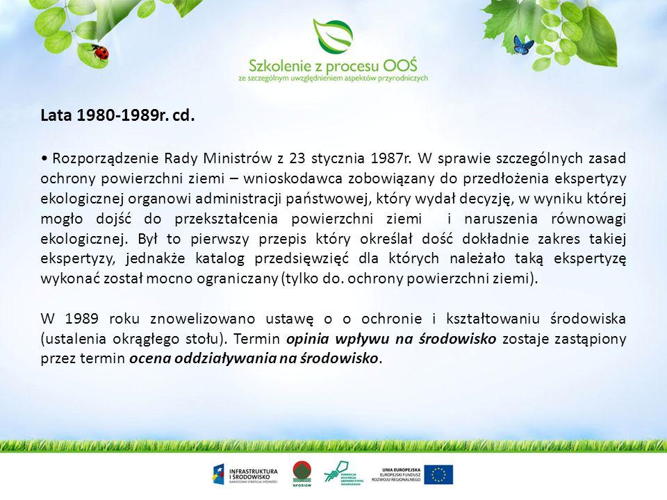Lata 1980-1989r. cd. Rozporządzenie Rady Ministrów z 23 stycznia 1987r. W sprawie szczególnych zasad ochrony powierzchni ziemi – wnioskodawca zobowiąz