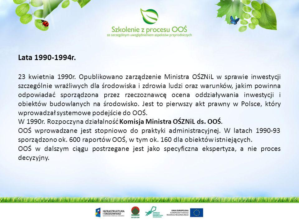 Lata 1990-1994r. 23 kwietnia 1990r. Opublikowano zarządzenie Ministra OŚZNiL w sprawie inwestycji szczególnie wrażliwych dla środowiska i zdrowia ludz