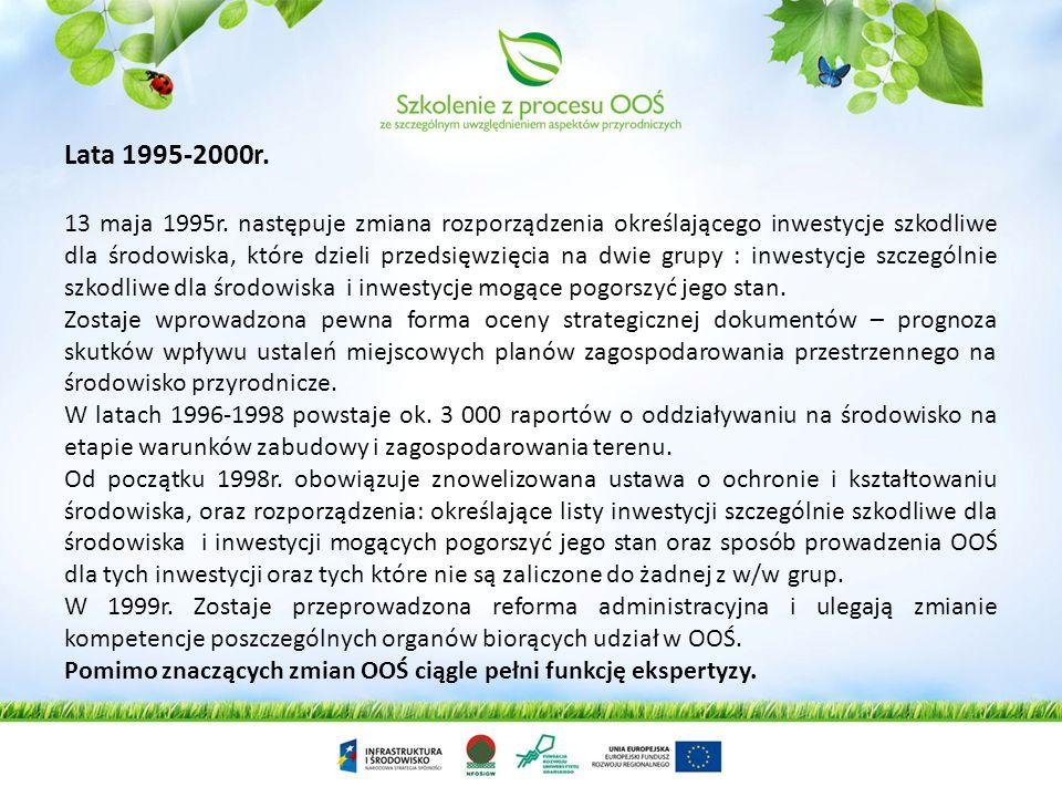 Lata 1995-2000r. 13 maja 1995r. następuje zmiana rozporządzenia określającego inwestycje szkodliwe dla środowiska, które dzieli przedsięwzięcia na dwi