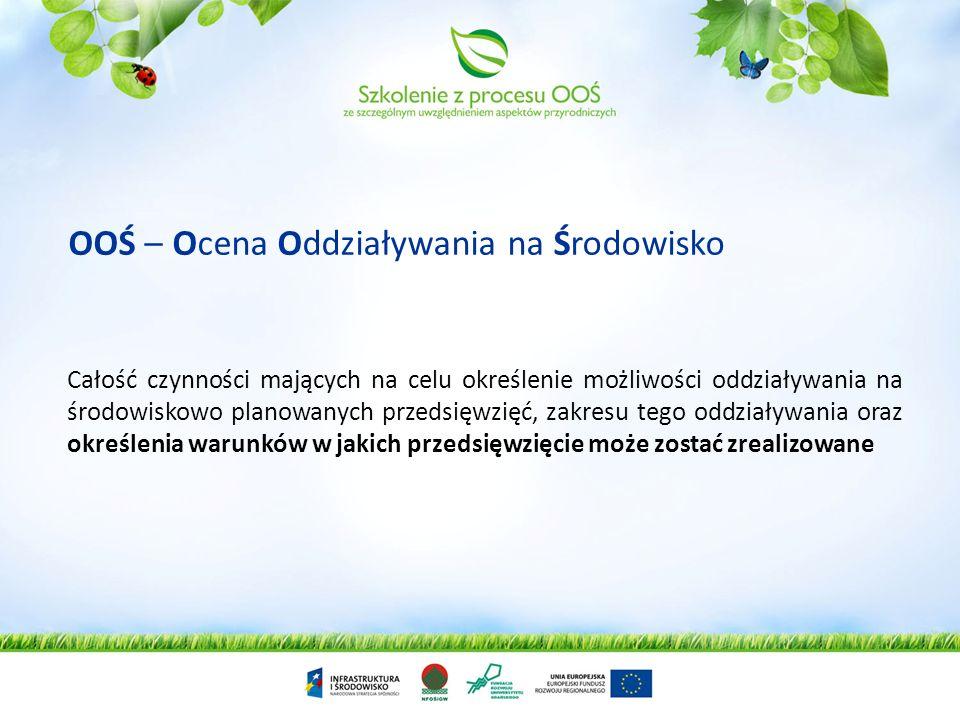 OOŚ – Ocena Oddziaływania na Środowisko Całość czynności mających na celu określenie możliwości oddziaływania na środowiskowo planowanych przedsięwzię