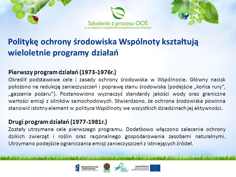 Politykę ochrony środowiska Wspólnoty kształtują wieloletnie programy działań Pierwszy program działań (1973-1976r.) Określił podstawowe cele i zasady