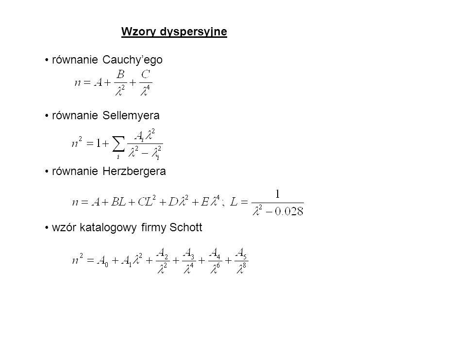 Wzory dyspersyjne równanie Cauchyego równanie Sellemyera równanie Herzbergera wzór katalogowy firmy Schott