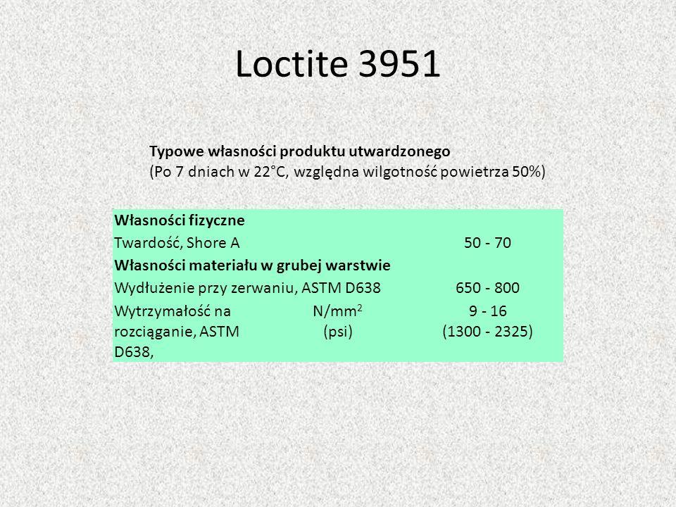 Loctite 3951 Własności fizyczne Twardość, Shore A50 - 70 Własności materiału w grubej warstwie Wydłużenie przy zerwaniu, ASTM D638650 - 800 Wytrzymało