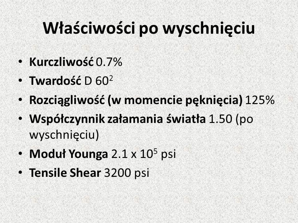 Właściwości po wyschnięciu Kurczliwość 0.7% Twardość D 60 2 Rozciągliwość (w momencie pęknięcia) 125% Współczynnik załamania światła 1.50 (po wyschnię