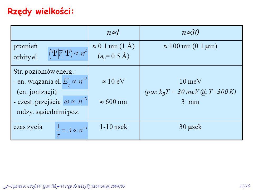 Oparte o: Prof.W. Gawlik – Wstęp do Fizyki Atomowej, 2004/0510/16 Rzędy wielkości: tzw. jednostki atomowe: - energia m e c 2 - długość C =h/m e c = 3.