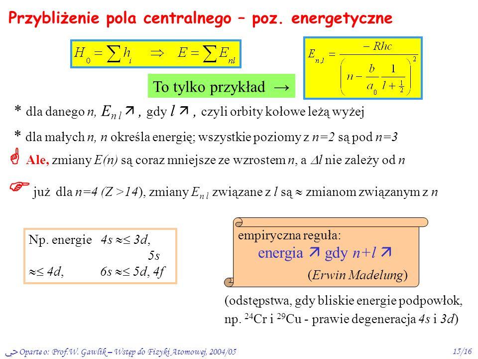 Oparte o: Prof.W. Gawlik – Wstęp do Fizyki Atomowej, 2004/0514/16 Przybliżenie pola centralnego – c.d. H = H 0 + V nc przybliż. niezależnych elektronó