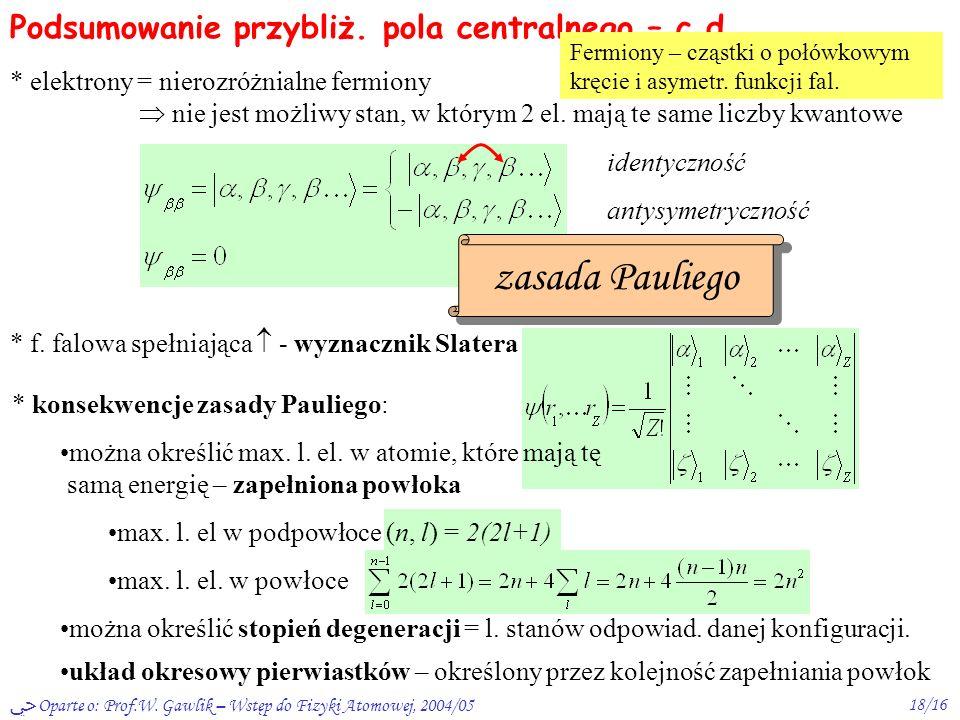 Oparte o: Prof.W. Gawlik – Wstęp do Fizyki Atomowej, 2004/0517/16 Podsumowanie przybliż. pola centralnego * poz. energ. E nl (+ popr.) kolejność zapeł