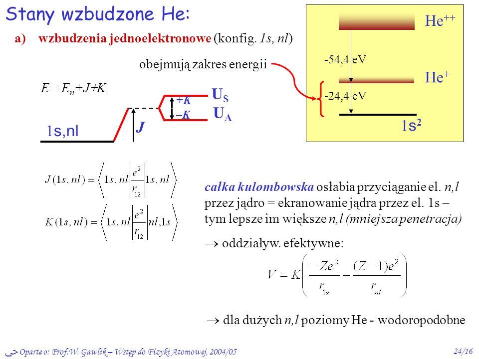 Oparte o: Prof.W. Gawlik – Wstęp do Fizyki Atomowej, 2004/0523/16 dokładniej: E=E 0 + E, E = J K J -54,4 eV He + + e – 1s21s2 +K –K US UAUS UA naprawd