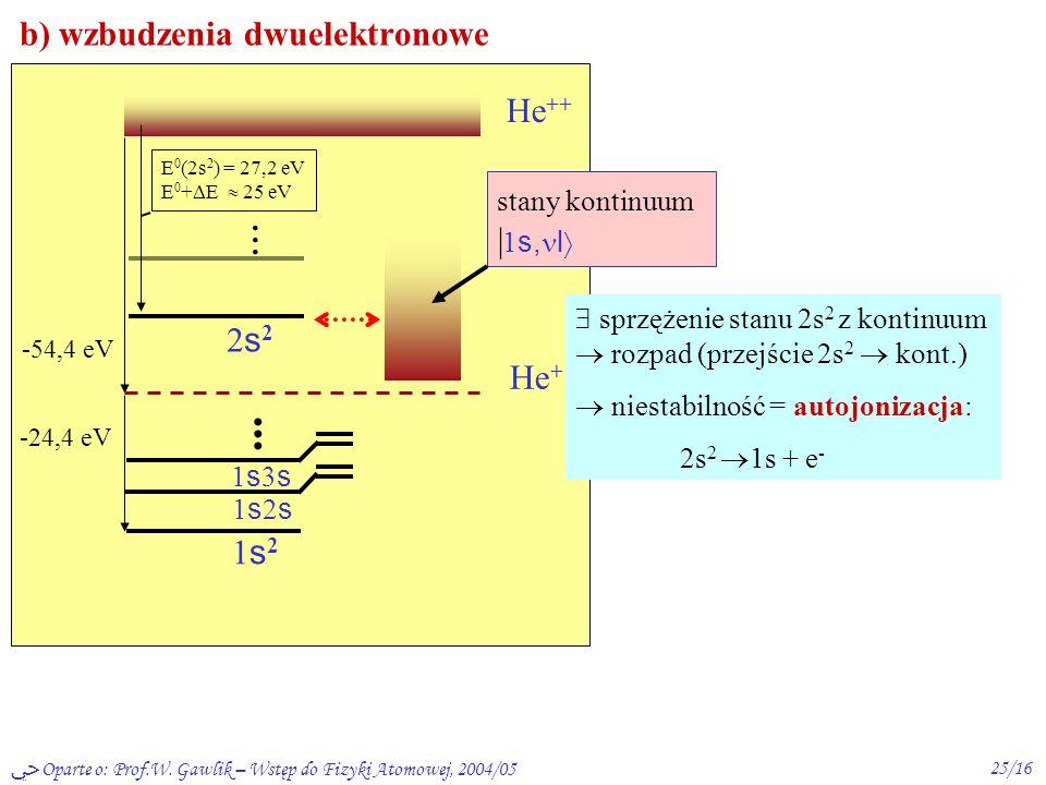 Oparte o: Prof.W. Gawlik – Wstęp do Fizyki Atomowej, 2004/0524/16 Stany wzbudzone He: a)wzbudzenia jednoelektronowe (konfig. 1s, nl) -24,4 eV He ++ He