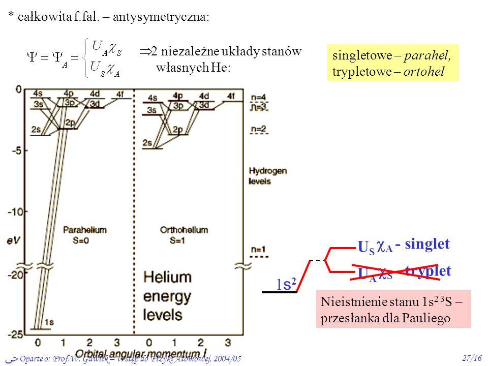 Oparte o: Prof.W. Gawlik – Wstęp do Fizyki Atomowej, 2004/0526/16 Uwzględn. spin elektronu * całkowita f. fal. – zmienne spinowe i przestrzenne niezal
