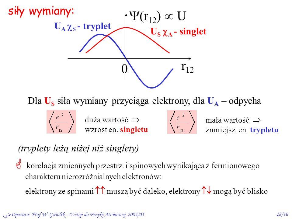 Oparte o: Prof.W. Gawlik – Wstęp do Fizyki Atomowej, 2004/0527/16 * całkowita f.fal. – antysymetryczna: 2 niezależne układy stanów własnych He: single