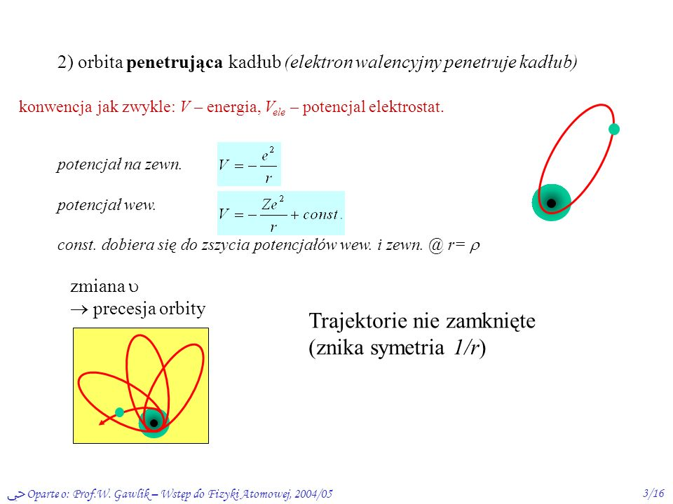 Oparte o: Prof.W. Gawlik – Wstęp do Fizyki Atomowej, 2004/052/16 Atomy wieloelektronowe: niekulombowski potencjał (centralny) kiedy? niektóre atomy wi