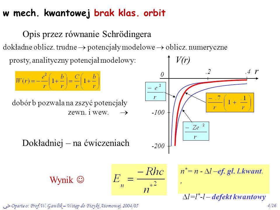 Oparte o: Prof.W. Gawlik – Wstęp do Fizyki Atomowej, 2004/053/16 2) orbita penetrująca potencjał na zewn. potencjał wew. const. dobiera się do zszycia