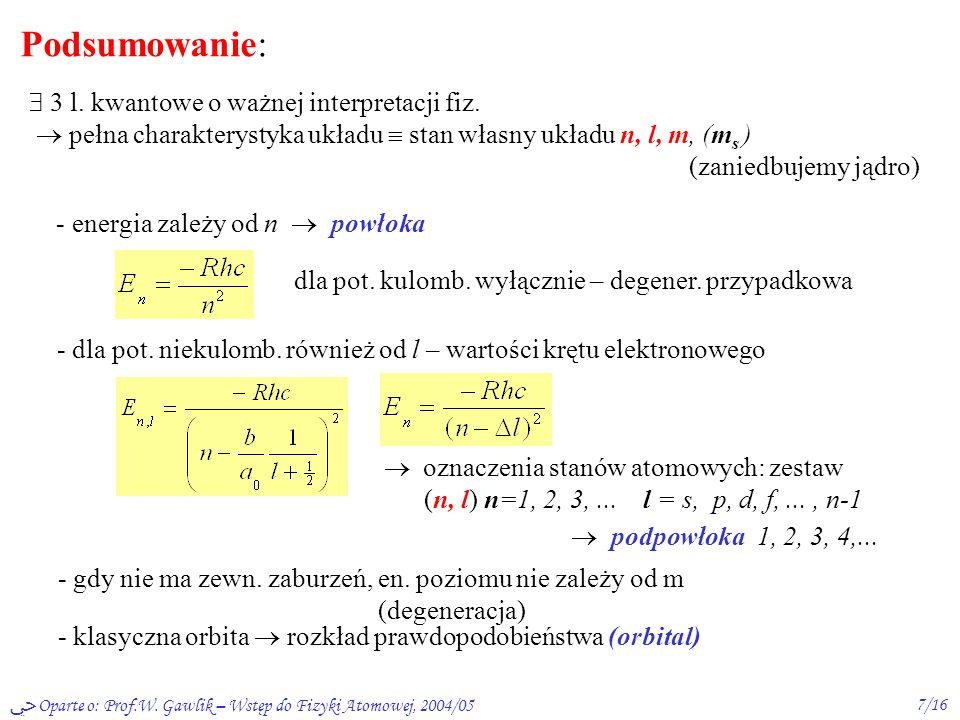 Oparte o: Prof.W. Gawlik – Wstęp do Fizyki Atomowej, 2004/056/16 3s 3p 3d 12 3 4 l = 0 5s 5d 5f 5g 5p 4s 4p 4f 4d n= -13,6 -3,4 -1,51 -0,85 0 E [eV] 1