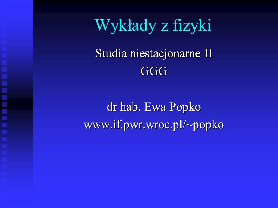 Wykłady z fizyki Studia niestacjonarne II GGG dr hab. Ewa Popko www.if.pwr.wroc.pl/~popko