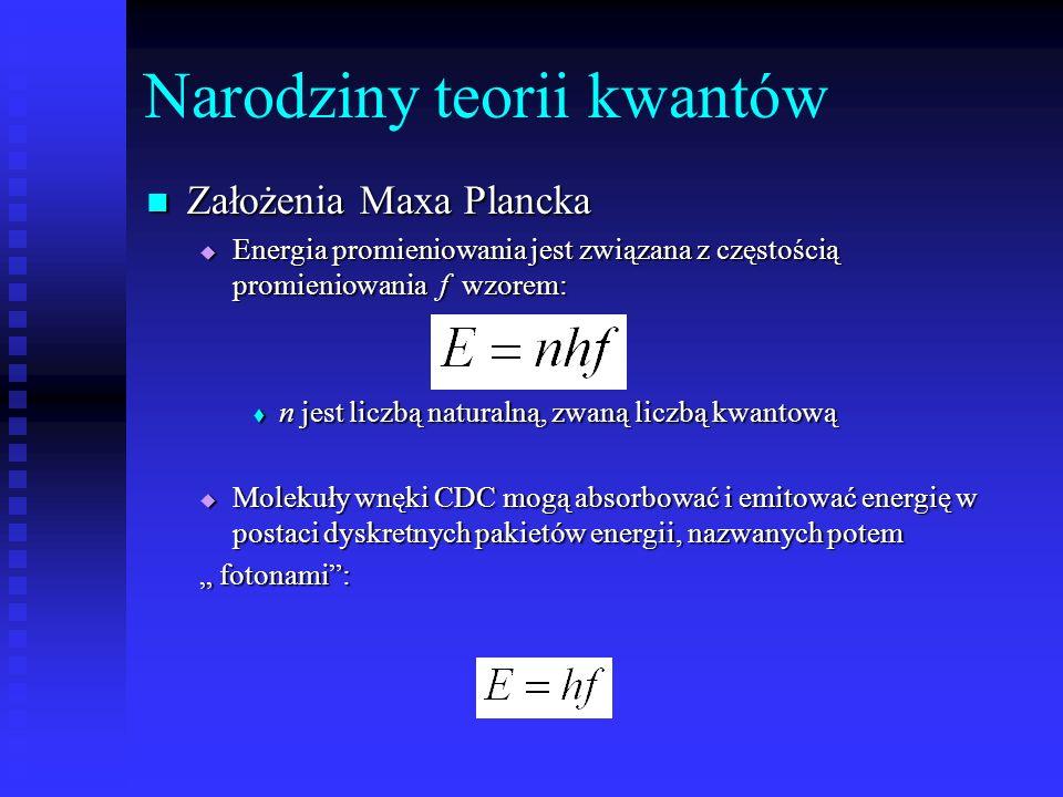 Narodziny teorii kwantów Założenia Maxa Plancka Założenia Maxa Plancka Energia promieniowania jest związana z częstością promieniowania f wzorem: Ener