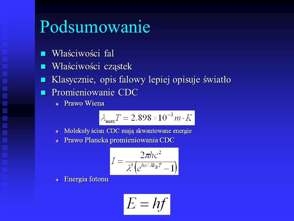 Podsumowanie Właściwości fal Właściwości fal Właściwości cząstek Właściwości cząstek Klasycznie, opis falowy lepiej opisuje światło Klasycznie, opis f