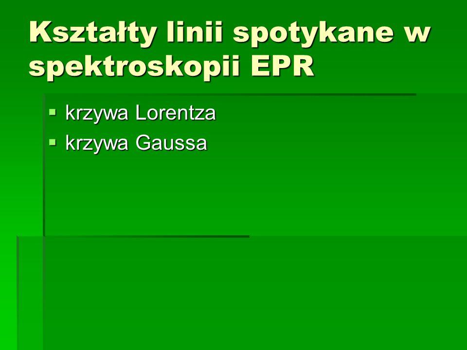 Kształty linii spotykane w spektroskopii EPR krzywa Lorentza krzywa Lorentza krzywa Gaussa krzywa Gaussa