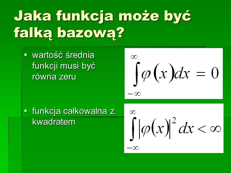 Jaka funkcja może być falką bazową? wartość średnia funkcji musi być równa zeru wartość średnia funkcji musi być równa zeru funkcja całkowalna z kwadr
