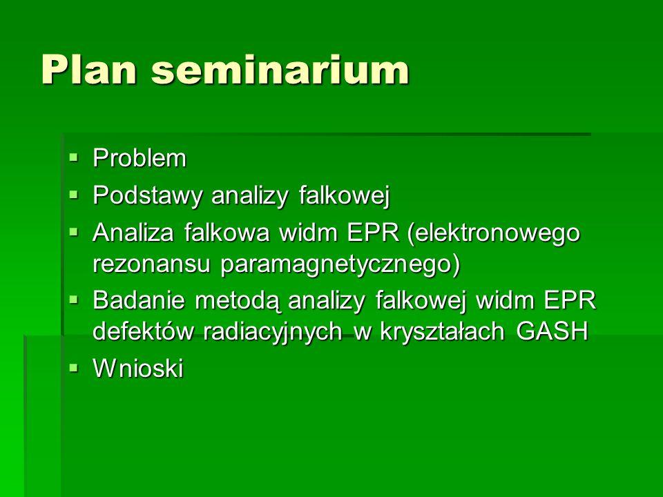 Plan seminarium Problem Problem Podstawy analizy falkowej Podstawy analizy falkowej Analiza falkowa widm EPR (elektronowego rezonansu paramagnetyczneg
