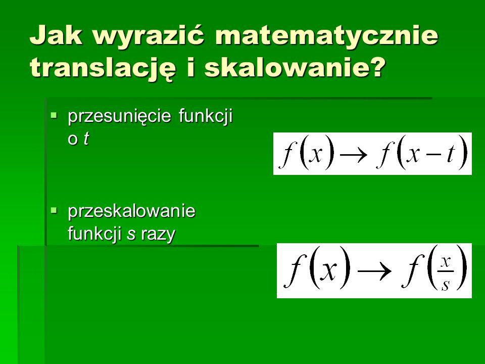 Jak wyrazić matematycznie translację i skalowanie? przesunięcie funkcji o t przesunięcie funkcji o t przeskalowanie funkcji s razy przeskalowanie funk