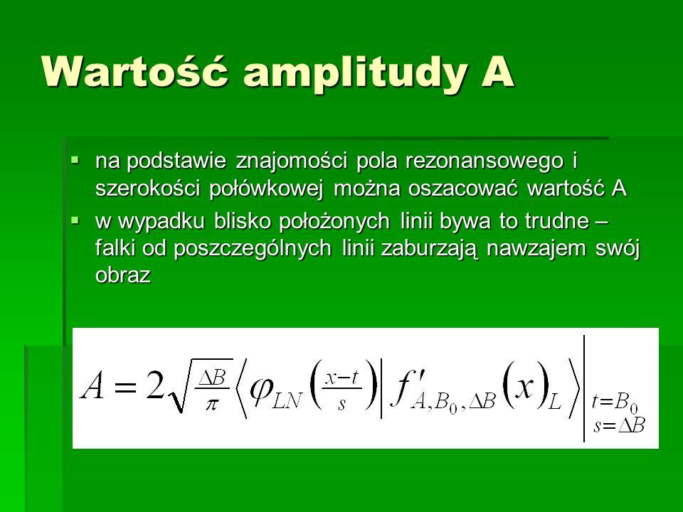 Wartość amplitudy A na podstawie znajomości pola rezonansowego i szerokości połówkowej można oszacować wartość A na podstawie znajomości pola rezonans