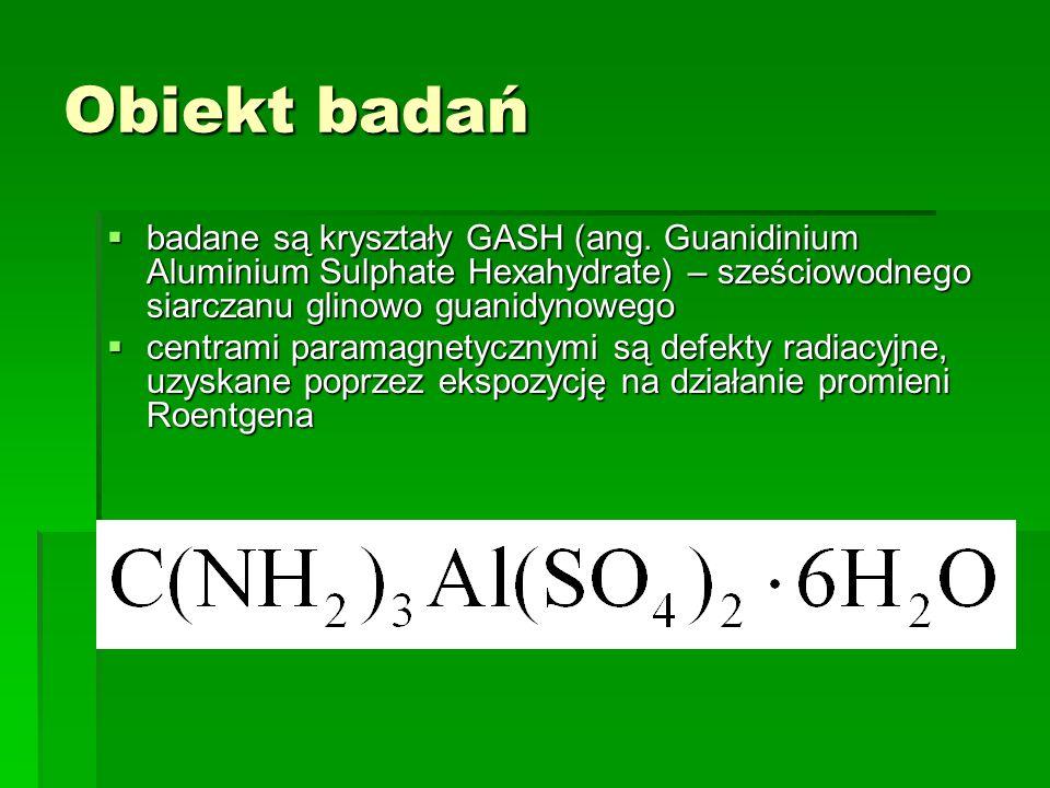 Obiekt badań badane są kryształy GASH (ang. Guanidinium Aluminium Sulphate Hexahydrate) – sześciowodnego siarczanu glinowo guanidynowego badane są kry