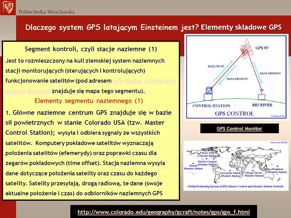Segment kontroli, czyli stacje naziemne (1) Jest to rozmieszczony na kuli ziemskiej system naziemnych stacji monitorujących (sterujących i kontrolując