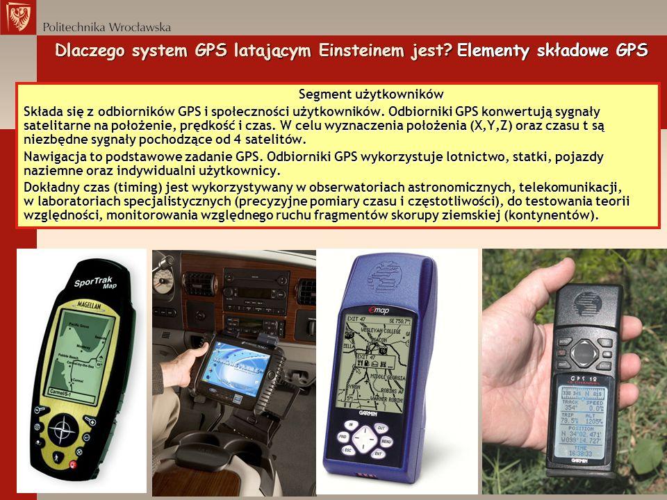 Segment użytkowników Składa się z odbiorników GPS i społeczności użytkowników. Odbiorniki GPS konwertują sygnały satelitarne na położenie, prędkość i