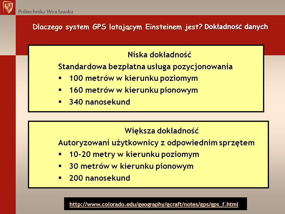 Niska dokładność Standardowa bezpłatna usługa pozycjonowania § 100 metrów w kierunku poziomym § 160 metrów w kierunku pionowym § 340 nanosekund Dlacze
